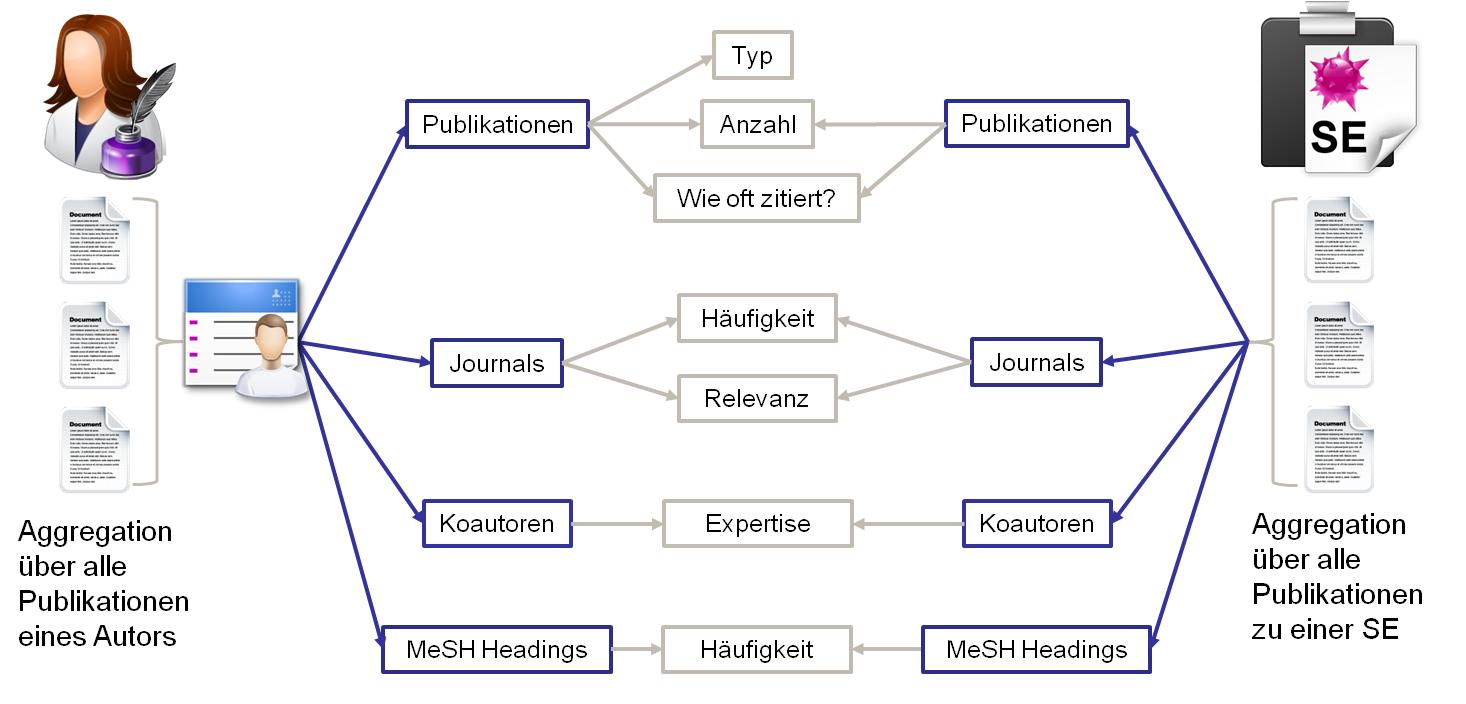 Ein Schaubild, das Kenngrößen für Tätigkeitsfeld und Expertise eines Autors illustriert.